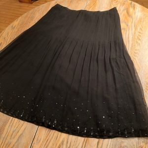 J CREW pleated silk skirt w/black sequins